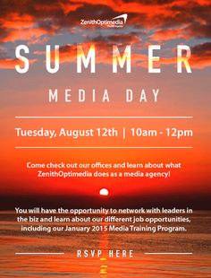 Come check out ZenithOptimedia's offices and learn about what they do as a media agency! You will have the opportunity to network with leaders in the biz and learn about their different job opportunities, including their January 2015 Media Training Program.  To attend, students must RSVP here: https://www.eventbrite.com/e/zenithoptimedia-summer-media-day-tickets-12246785465