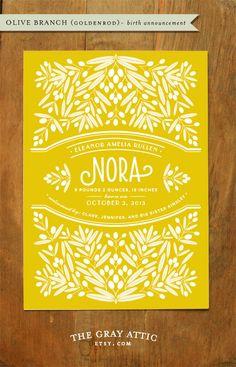 Birth Announcement (Olive Branch - Goldenrod) - Yellow, Modern Botanical