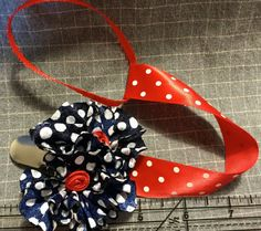 Patriotic Silk Flower Pacifier Clip by KrommeHomeLove on Etsy