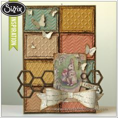 Sizzix Inspiration | Embossed Easter Card by Anna-Karin. Made with Tim Holtz Sizzix dies and embossing folders.