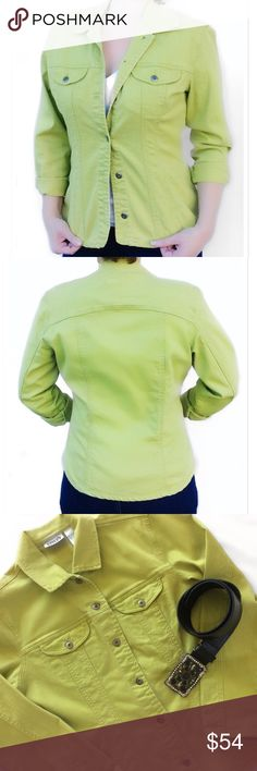 """Chico's Chartreuse Denim Jacket Excellent condition no signs of wear. This can be worn as a jacket or a shirt-jacket. So well done & high quality. 98% Cotton 2% Spandex, stretchy & cozy. Beautiful Steel brushed buttons. 2 breast front pockets. Sleek feminine tailored cut. Chico's sizing """"0"""" exact measurements; 38"""" Bust, 24"""" Length. Fits great on a Medium as shown. Bundle for a fantastic discount. Also open to offers. Shell & Rhinestone Belt being sold under separate listing. Chico's Jackets…"""