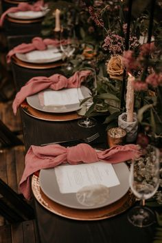 Dark & Moody Intimate Wedding with Mauve Napkins,Chic Napkin Folds That Will Elevate Your Reception Tables, Park Weddings, Intimate Weddings, Disney Weddings, Mauve Wedding, 1920s Wedding, Wedding Ideas, Gothic Wedding, Wedding Themes, Wedding Pictures