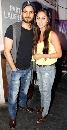 Karan Tacker with Krystle D'Souza at the 'Mumbai Warriors' team launch. #Bollywood #Fashion #Style #Beauty