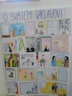 Děti tvoří vlastní zvětšený komiks, každý si vybere jedno okénko.