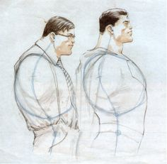 Frank Quitely's sketches for All Star Superman, in which he illustrates the body language differences between Clark Kent and Superman.