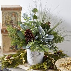 Mixed Winter Greenery & Pinecone Rustic Arrangement in White Faux-Birch Cylinder - Mixed Winter Greenery & Pinecone Rustic Arrangement in White Faux-Birc – Darby Creek Trading - Christmas Planters, Christmas Greenery, Christmas Wreaths, Christmas Decorations, Holiday Decor, Pinecone Wedding Decorations, Diy Christmas, Christmas Flowers, Christmas Candles