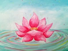 Learn to Paint Water Lotus tonight at Paint Nite! Small Canvas Paintings, Flower Painting Canvas, Diy Canvas Art, Colorful Paintings, Lotus Flower Art, Flower Art Drawing, Mandala Drawing, Yoga Painting, Lotus Painting