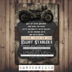 Vintage Motorcycle Party Invitation. Great for Adults and Men! Motor Bike Bicycle DIY PRINTABLE, manly invite, rustic, guy birthday