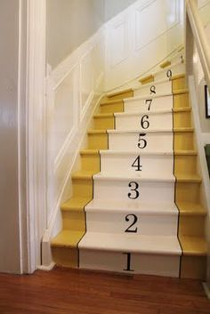 Painted and Numbered 'Carpet' on Stairs | Ellaboo & Co via A Creative Princess