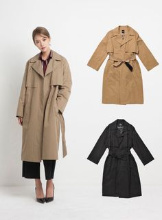 LAP Womens LOOSEFIT TRENCH COAT 2 Colors Size FF (AF4WC961) #LAP #LOOSEFITTRENCHCOAT