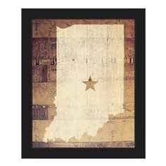 "Click Wall Art 'Indiana Rustic' Framed Graphic Art Frame Color: Black, Size: 16.5"" H x 13.5"" W x 1"" D"