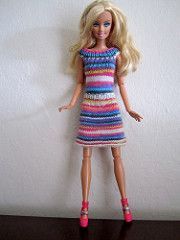 A short dress with A-line skirt and ribbing at the neck and waist for Barbie