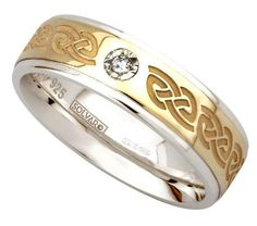Ladies Celtic Love Knot 0.02ct Diamond set Wedding Ring in two tone 10ct Gold and Sterling Silver