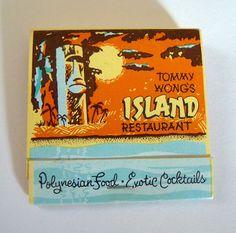 Vintage Tiki Bar Matchbook Tommy Wong's Island!  Vintage Tiki, Rare Tiki, Tiki Bar, Tiki Mug, Tiki Decor!