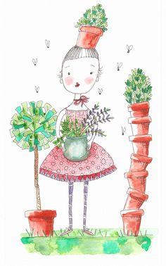 illustration whimsy flowers nature girl flower pots standard trees