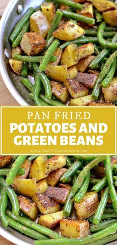 This classic side dish goes with just about anything and everything! Your family will love Pan Fried Potatoes and Green Beans. In this easy recipe, perfectly seasoned spuds are fried in butter with crisp-tender green beans sprinkled with salt and pepper. Save this pin! Seasoned Green Beans, Fried Green Beans, Green Beans And Potatoes, Pan Green Beans, Potato Side Dishes, Side Dishes Easy, Veggie Dishes, Side Dish Recipes, Dinner Recipes