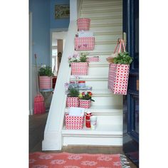 Overbeck and Friends via Mand & Mand. Overbeck And Friends, Flower Boxes, Flowers, Fabric Boxes, Different Shapes, Ladder Decor, Hue, Baskets, Sweet Home