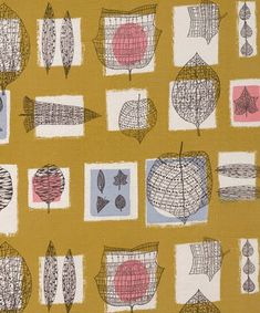 Vintage fabric, no date given, my guess is late 1950s, early 1960s.