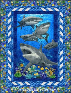 """Large shark panel with shark teeth border. Multi HST method. Twin fabric panel quilt pattern. Finished Size: Twin 65"""" x 86"""" Skill Level: Advanced Beginner Technique: Pieced Fabric Panel Quilts, Fabric Panels, Quilt Patterns, Teeth, Artwork, Twin, Prints, Quilting, Quilting Patterns"""