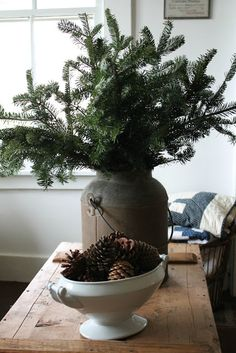 Love the use of natural elements to accent prim treasures. different types of pine, pinecones, mistletoe, branches with berries. Can't beat those prices! Country Christmas Decorations, Farmhouse Christmas Decor, Primitive Christmas, Rustic Christmas, Xmas Decorations, Vintage Christmas, Natural Christmas, Simple Christmas, Winter Christmas