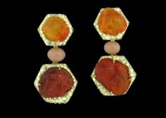 Nicholas Varney Fire Opal, Conch Pearl and Diamond Earrings