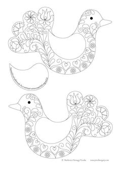 New Ideas Embroidery Bird Pattern Folk Art Embroidery Hearts, Bird Embroidery, Embroidery Monogram, Embroidery Patterns Free, Bird Patterns, Hand Embroidery Designs, Indian Embroidery, Mexican Pattern, Bird Template