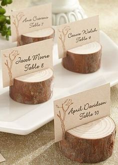 Place cards. this is so cute if you go with a tree theme