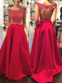 Two Piece Prom Dress/Evening Dress - Red Off-the-Shoulder A-Line Beading