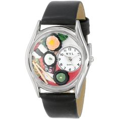 Whimsical Watches Sushi Black Leather Watch ($18) ❤ liked on Polyvore featuring jewelry, watches, leather jewelry, handcrafted jewellery, leather wrist watch, leather watches and whimsical watches