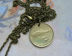 Brass Dolphin Necklace Pendant Fish Keychain Old Vintage Antique Style