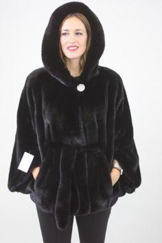 Black Velvet Saga Mink Fur Cape with Hood and Belt Black Satin, Black Velvet, Fur Cape, Skin To Skin, Mink Fur, Saga, Belt, Hoodies, Sweaters