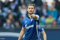 Benedikt Hoewedes of Schalke gestures during the Bundesliga match between FC Schalke 04 and RB Leipzig at Veltins-Arena on April 23, 2017 in Gelsenkirchen, Germany.