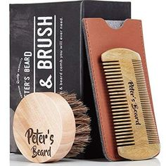 Beard Comb and Brush Set for Men - Wooden Beard Comb Sandalwood Beard Comb - Natural Horse Hair Bristle Brush - Perfect for Beard Balms & Oils – Soften and Condition Itchy Beards - 2 Year Warranty Peter Beard, Best Oils, Beard Balm, Frizzy Hair, Beard No Mustache, Horse Hair, Hair Oil, Brush Set, The Balm