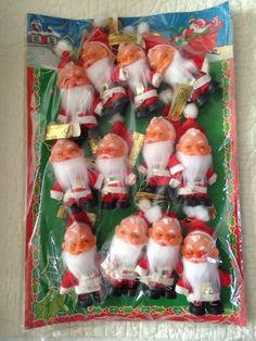 Vintage Santa Claus creepy face 12 Christmas Ornaments with Store Display JAPAN