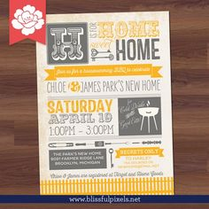 House Warming Party - BBQ, Housewarming Invitation, New Home, Invite