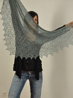 Ravelry: Flukra pattern by Gudrun Johnston Knitted Shawls, Crochet Shawl, Knit Crochet, Lace Shawls, Knit Lace, Lace Knitting Patterns, Knitting Ideas, Evening Shawls, Knitting Books