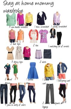 This would be a great place to start with revamping my SAHM wardrobe. Maybe double the tops lol I was inspired by everyday minimalist's list but since I work at home I figured I do my own version Mom Wardrobe, Wardrobe Basics, Wardrobe Ideas, Organizing Wardrobe, Capsule Wardrobe Mom, Mom Outfits, Cute Outfits, Fashion Outfits, Capsule Outfits