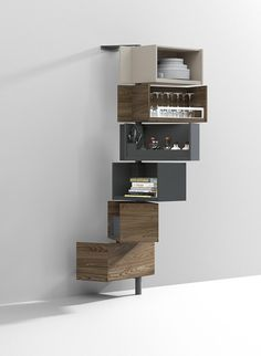 The Giralot is a wall mounted storage system available in a variety or widths, depths and finishes. Many interior options available as well.