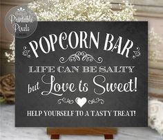 Popcorn Bar Sign Chalkboard Wedding Party by PrintablePixels
