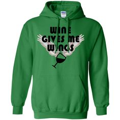 This Wine Gives Me Wings Ladies Wine Lovers Hoodie is great for cooler weather and a must have for any wine lover. Polyester-Cotton Blend with digital print. Excellent quality. Visit SportsFansPlus.com for Details.