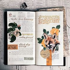 Layout for week 28, which I admit to doing half-heartedly—the direction the commonplace books are taking seems so dissonant to what is usually in the Midori. But, egh, that's a pickle I'll have fun figuring out. The joy in this one was rescuing a waterlogged fox (sent to me dry, haha, by @cloudydaysandletters) and twisting the roses around its ears.