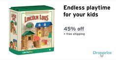 """Help me drop the price of the Lincoln Logs 120 Pc Set to $22.00 (45% off). The price continues dropping as more moms click """"Drop the price"""". Moms drop prices of kids & baby products by sharing them with each other."""