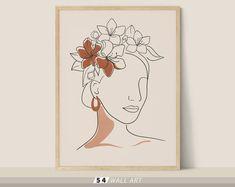 Face Lines, Fade Color, Woman Face, Paper Size, Printable Wall Art, Line Art, Printables, Texture, Digital