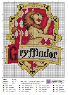 World In Stitches — Gryffindor House Crest cross stitch chart, the.The World In Stitches — Gryffindor House Crest cross stitch chart, the. Harry Potter Cross Stitch Pattern, Counted Cross Stitch Patterns, Cross Stitch Designs, Cross Stitch Embroidery, Embroidery Patterns, Cross Stitch Patterns Free Disney, Hand Embroidery, Free Cross Stitch Charts, Harry Potter Crochet