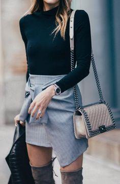 Black Sweater // Grey Skirt // Leather Shoulder Bag                                                                             Source