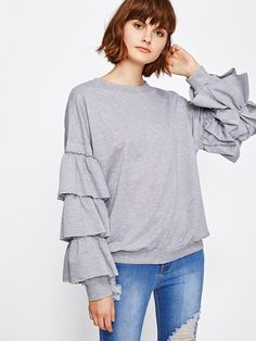 Shop Tiered Frill Sleeve Marled Sweatshirt online. SheIn offers Tiered Frill Sleeve Marled Sweatshirt & more to fit your fashionable needs.