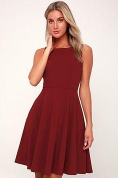 c162278cd7 Fall For You Burgundy Skater Dress 2 Cute Skater Dresses
