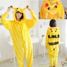 2017 Winter Pyjamas Pikachu Cosplay Animal Hoodie Sleepwear Pajamas Adult  Yellow Unisex Onesie Cosplay Costume Pajamas overall d7372e1681f7