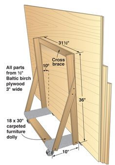 Modifying a flat furniture dolly with a braced stand made from scrap pieces of l… – How To Clean – JUST A FEW MINUTES Lumber Storage Rack, Plywood Storage, Lumber Rack, Diy Garage Storage, Tool Storage, Woodworking For Kids, Woodworking Workshop, Easy Woodworking Projects, Woodworking Shop