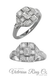 This Art Deco style diamond cluster ring has a unique pierced design. The central emerald cut diamond is surrounded by 10 round diamonds. Visit us in London or order online. #diamondrings #diamondclusterrings #artdecorings #londonvictorianring #hattongarden #engagementrings Art Deco Ring, Art Deco Diamond, Art Deco Jewelry, Emerald Cut Diamonds, Round Diamonds, Art Deco Fashion, Fashion Jewelry, Unusual Art, Diamond Cluster Ring